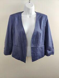 Halogen Women's Size 6 Blazer Purple Open Front Jacket 3/4 Length Sleeve