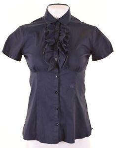 TRUSSARDI-Womens-Ruffle-Front-Shirt-Short-Sleeve-Size-10-Small-Navy-Blue-DF13