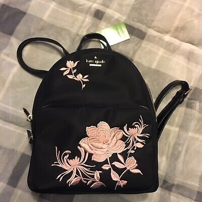 5394bfe2fa058 Details about New Kate Spade small Noria Down Place Embroidered Nylon  Backpack Black $299 NWT