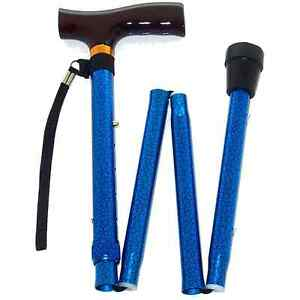 Blue-Crackle-Folding-Walking-Stick-with-Strap-amp-Clip-from-Z-Tec-2143-03
