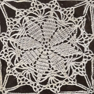 Crochet Motif Block Lucky Star Round Tablecloth Pattern Ebay