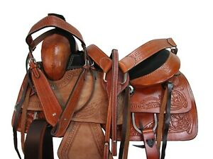 PRO WESTERN ROPING RANCH SADDLE 17 16 15 PLEASURE TOOLED LEATHER HORSE TACK SET