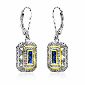 Vintage-Blue-Sapphire-White-Cz-925-Sterling-Silver-Gemstone-Dangle-Drop-Earrings