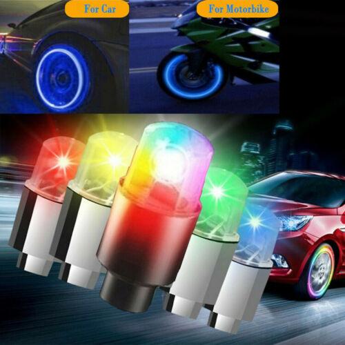 4//8X LED Wheels Tire Air Valve Stem Caps Blue//Red Neon Light For Car Motor Bike