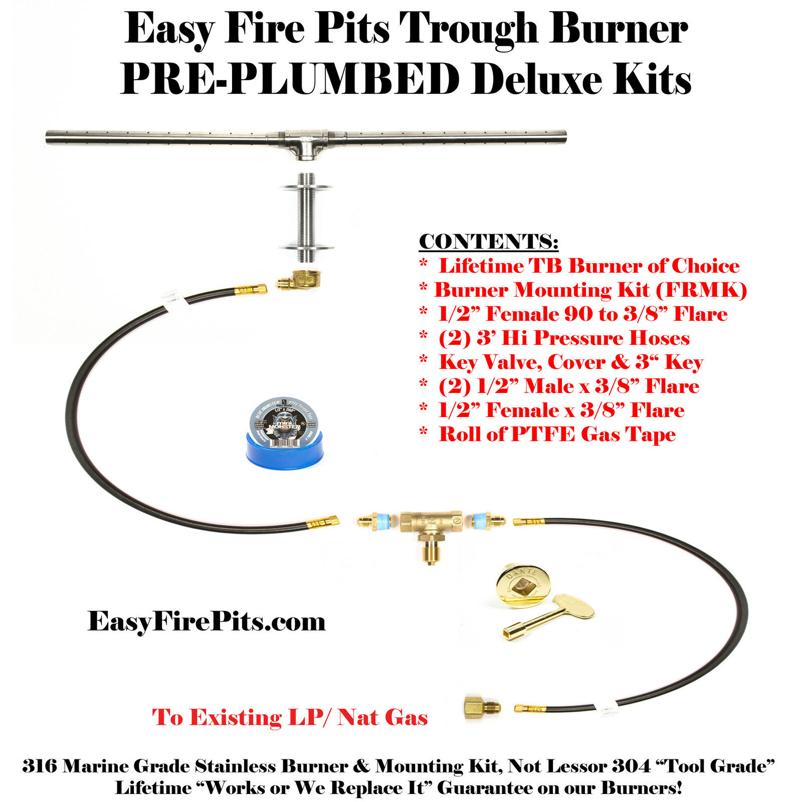 "DIY PRE-PLUMBED GAS FIRE PIT KIT /& 98/"" LIFETIME WARRANTED 316 BURNER TB98K++"