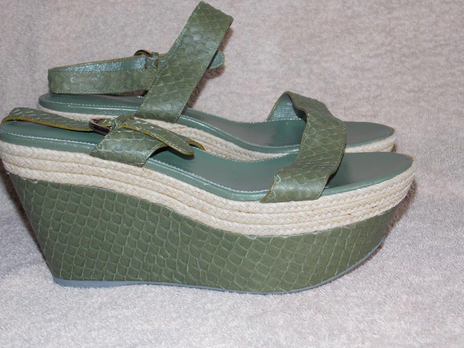 Serio Rossi Snake Olive Green PLATFORM Sandals 39/8.5 Womens New Read Details