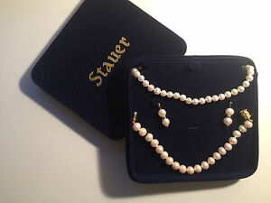 Image Is Loading Stauer Pearl Necklace Bracelet Amp Earrings Set White