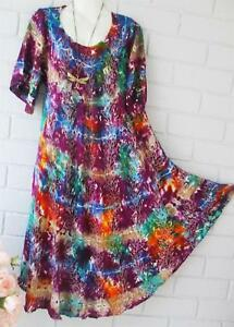 HIPPY-GYPSY-BOHO-PEASANT-pb-TIE-DYE-DRESS-FITS-10-12-14-16-18-20-22