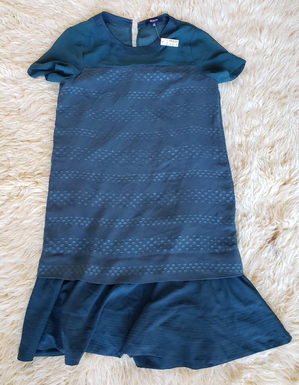 NEW Madewell Größe XS Slowbeat Dress Emerald Grün Dot Drop Waist Ruffle Short