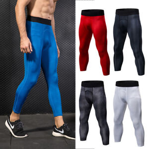 Mens-Compression-3-4-Tights-Sports-Running-Crossfit-Dri-fit-Spandex-Gym-Bottoms