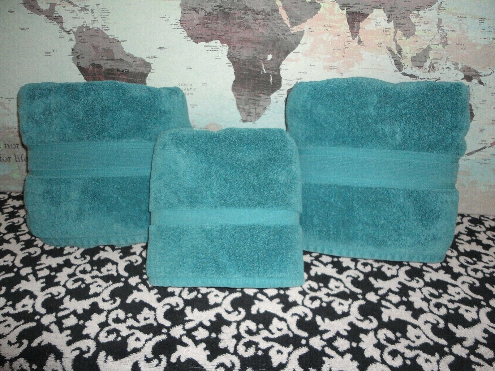 WAMSUTTA ICON DARK TEAL (3PC) THICK BATH & STEP MAT TOWEL SET