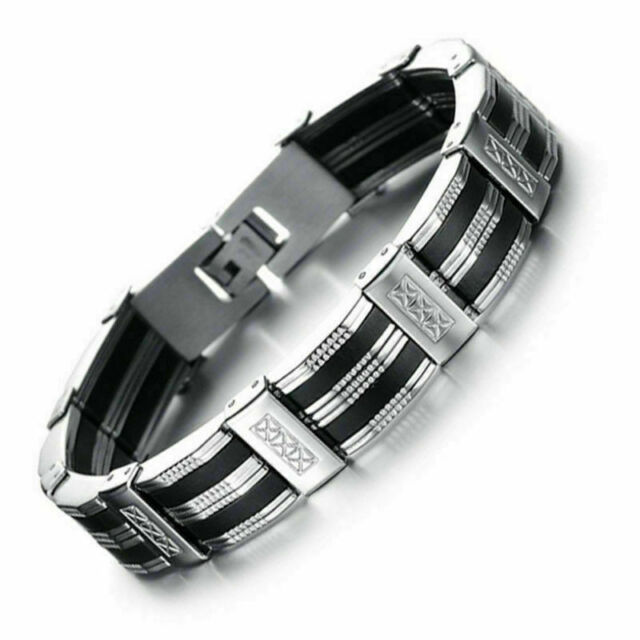 Herren Armband Edelstahl schwarz silber 21 cm kürzbar