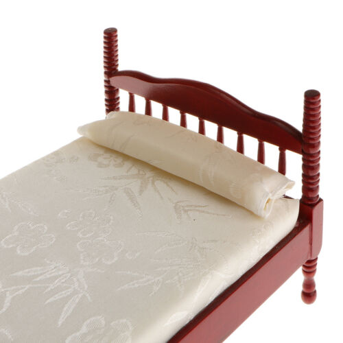 1:12 Dolls House Miniature Accessory Wooden Bedroom Double Bed Sidestand