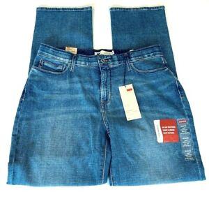 Levi-039-s-Women-039-s-525-Jeans-Size-14-M-x-32-Perfect-Waist-Straight-Leg-Blue-Figure