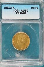 AN13-A ICG AU50 France Gold 20 Francs! #B4609
