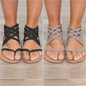 91a82daf3fb Women s Low Flat Heel Zip Back Gladiator Sandals Criss Cross Flip ...
