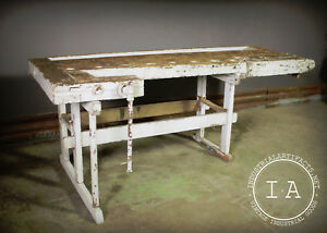 Awe Inspiring Details About Vintage Industrial Woodworkers Workbench Table Desk Caraccident5 Cool Chair Designs And Ideas Caraccident5Info