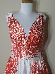 Ever Pretty Us Maxi Long Evening Dress Cocktail Ball Gown Red White Satin Sz L Ebay