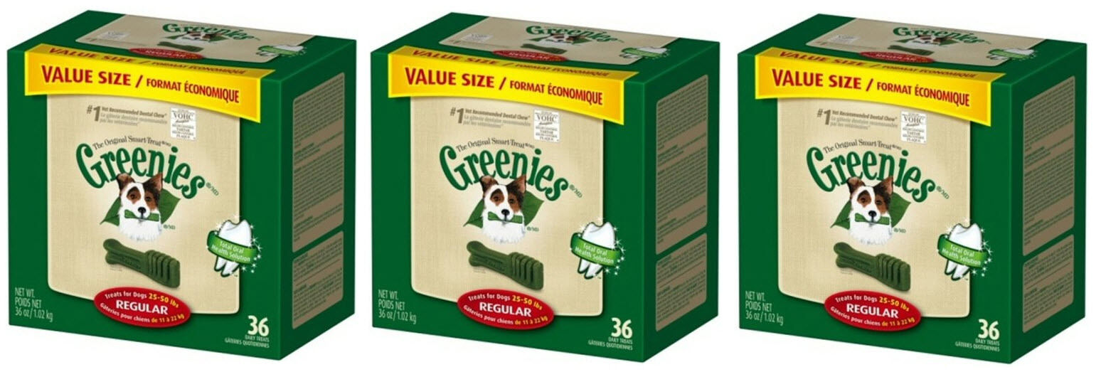 (3) GREENIES 36OZ VALUE CANISTER REGULAR BONES. 36CT.