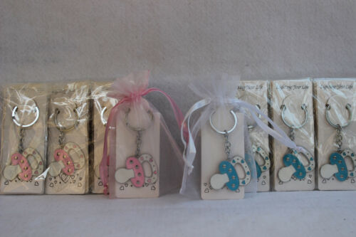 new 12 baby shower blue or pink pacifier key chain w pouch party favor game gift
