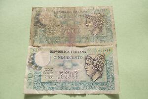 ITALY (REPUBBLICA ITALIANA). 2 NOTES@500 LIRE (1974&1979 ) - Dublin, Dublin, Ireland - ITALY (REPUBBLICA ITALIANA). 2 NOTES@500 LIRE (1974&1979 ) - Dublin, Dublin, Ireland