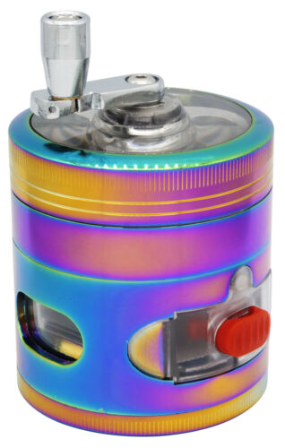 "2.4/"" 4 PC Rainbow Tobacco Herb Spice Grinder W// Handle Crank /& Drawer Crusher"