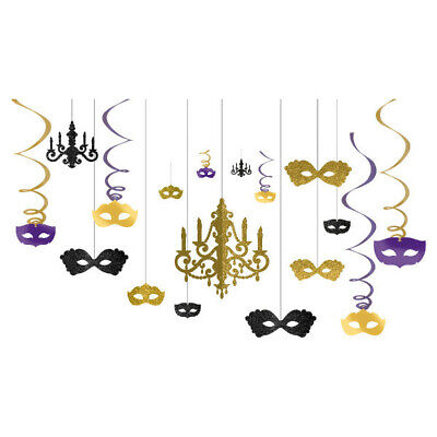 NIGHT IN DISGUISE CHANDELIER Hanging Room Party Decorations Masquerade Masks