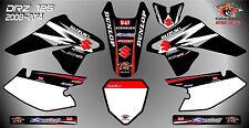 suzuki drz125 decals graphics laminated stickers motocross mx 125 black 08 -14