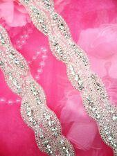 "XR203 Bridal Sash Applique Crystal Rhinestone Silver Beaded Dance Costume 10.5/"""