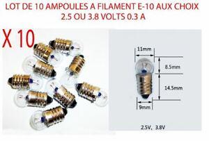 CompéTent Lot 10 Ampoules E-10 2,5 Ou 3,8 Volts Aux Choix Lampe Torche Velo Dynamo Edison