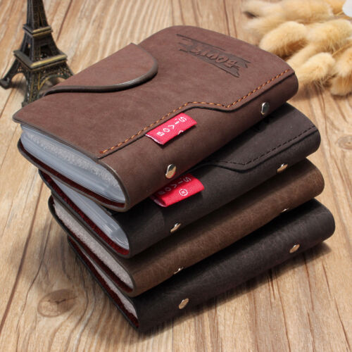Mens Luxury Soft Leather  Business ID Credit Card Holder Wallet Purse 20