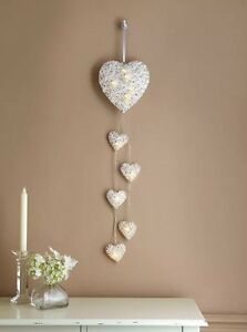 Cuori In Rattan.Details About New Vintage Heart Shabby Chic Led Light 6 White Hanging Rattan Wicker Decoration