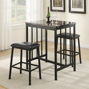Image Is Loading 3 Pc Counter Height Dining Set Small Faux