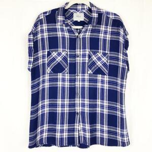 Rails-Women-039-s-M-Medium-Shirt-Top-Britt-Plaid-Button-Up-Cobalt-Blue-Short-Sleeve
