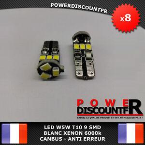 8-Veilleuses-LED-W5W-T10-Canbus-ANTI-ERREUR-ODB-Blanc-XENON-9-SMD-voiture-moto