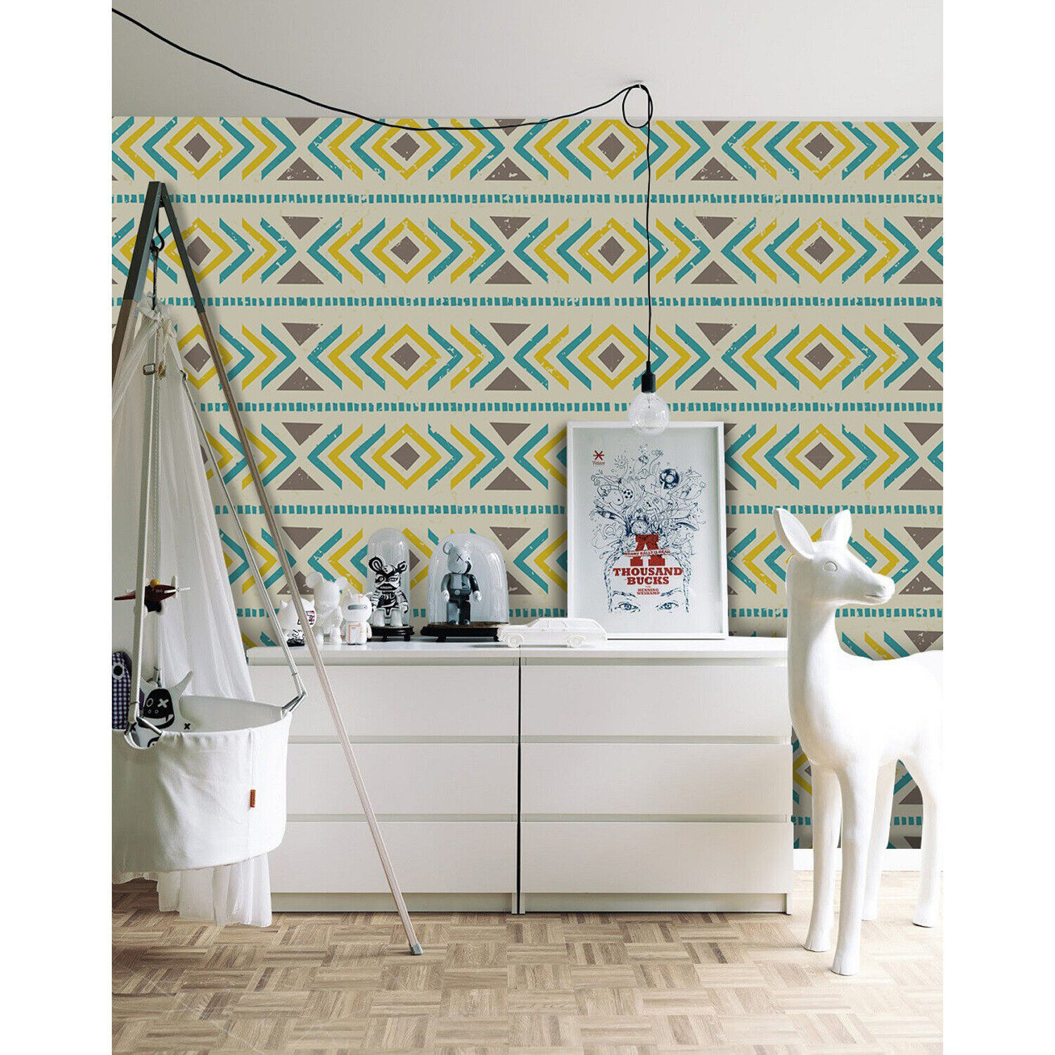 Geometric boho Removable wallpaper braun and Gelb wall mural wall art