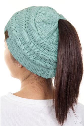 C.C Beanietail Ponytail Messy Bun Solid Ribbed Beanie Hat Cap