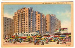 1950-Postmarked-Postcard-Ambassador-Hotel-Atlantic-City-New-Jersey-NJ