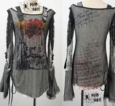 Visual kei fashion cool gothic punk rave nana lolita tee shirt top S M L XL XXL