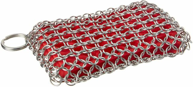 """316L Chainmail Cast Iron Scrubber for Lodge Pans Skillets /& Dutch Ovens 8/""""x6/"""""""