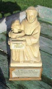 Antique-Piggy-Bank-St-Anthony-Missionary-Very-Rare-Plaster