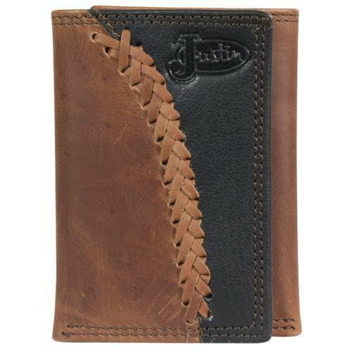 Justin Western Mens Wallet Trifold Leather Laced Black Brown 1920568W4