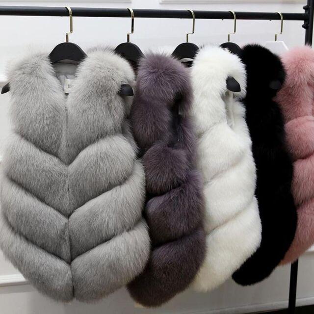 Womens Winter Coat Waistcoat Fox Faux Fur Fluffy Vest Gilet Sleeveless Jacket