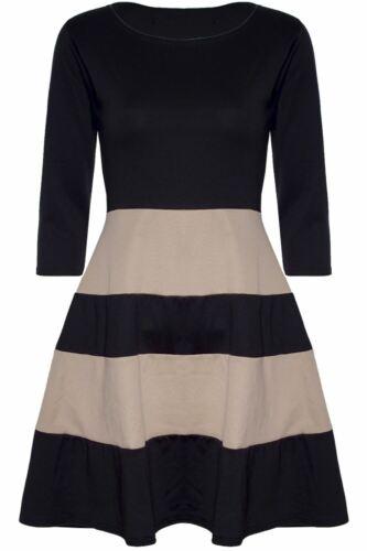 Da Donna con Block Stripe PANNELLO 3//4 manica Franki Svasato Skater Dress Plus Size