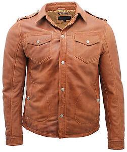 low priced fe2cf 52265 Dettagli su Uomo pelle Marrone Jeans Vintage Giacca Camicia
