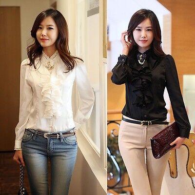 New Womens OL Shirt Long Sleeve Silky Lace Collar Ruffle Chiffon Slim Top Blouse