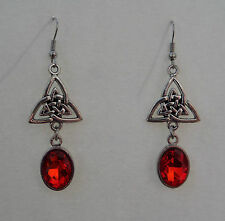 CELTIC KNOT DARK SILVER PLATED TRI EARRINGS WITH FACETED RED GLASS CRYSTAL OVAL