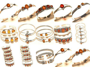 Silver-Plated-Free-Postage-Cuff-Handmade-Only-Amber-Gemstone-Jewelry-100Pcs