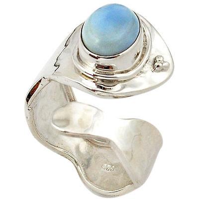 Angelit blau elegant modern edel Design Ring, Ø 17,25 mm 925 Sterling Silber neu