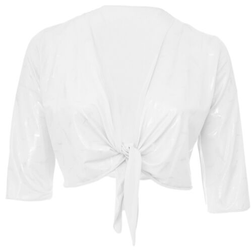 Womens Silver Feather Print Stretch White Shrug Bolero Top Tie Bra Top New